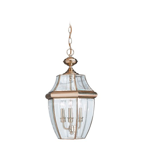 Sea Gull Lighting 6039-02 Three-Light Lancaster Outdoor Pendant, Clear Curved Beveled Glass, Polished Brass - Classic Polished Brass Lantern