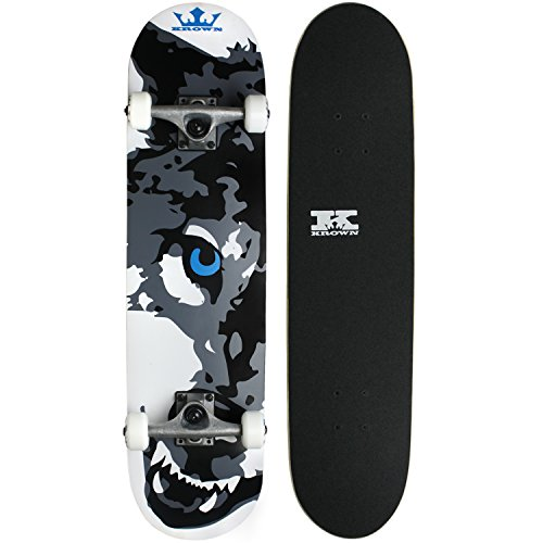Krown Wolf Skateboard, White, 7.5""
