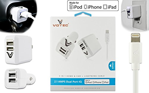 Apple Certified 2.1 AMP Premium 3in1 Rubberized Car Adapter + Home Wall Travel Adapter + 6 FT USB Sync Lightning Cable for iPhone 5, 5S, 6, 6S, 6 Plus, 6S Plus, 7, 7 Plus, iPad, iPod Touch, Nano
