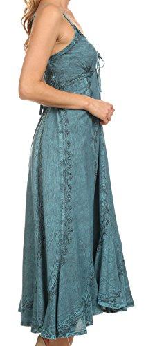 Sakkas 152105 - Allie Stonewashed Embroidered Adjustable Spaghetti Straps Long Dress - Turquoise - 1X/2X