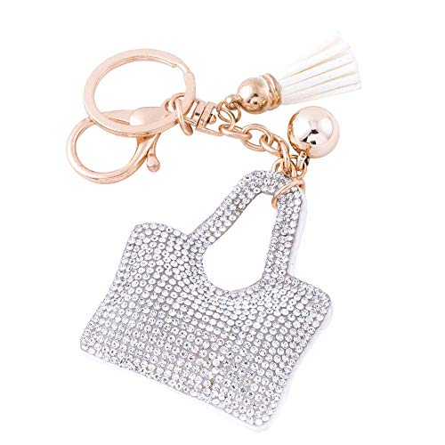 Bling Ring Bag - Soleebee Glitter Handbag Keychain Premium SS6 Crystal Tassel Key Chain Leather Bag Charm for Women Girls (Silver)