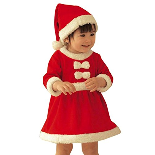 (kaifongfu Toddler Dresses, Kid Baby Girl Christmas Clothes Bowknot Party Dresses+Hat Outfit (Red, 80♣♣Size:2-3T))