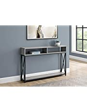 Monarch Specialties Accent Hallway Sofa Black with 2 Storage Shelves Metal Frame Long Entryway Table