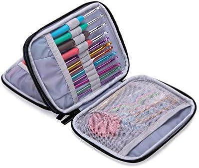 Damero Kits de Ganchillo Estuche para Crochet Organizador de Agujas Bolsa de Herramientas Juego del Ganchos (No incluido ningún accesorio),Azul oscuro: Amazon.es: Hogar