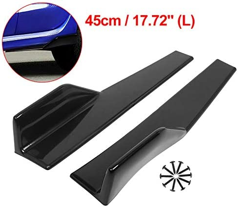 Negro Brillante Basage Faldon Lateral Ajustan una Veh/íCulo Universal Negro 450 Mm Extension de L/íNea de Fondo Lateral Exterior Difusor de Autom/óVil con Labio Divisor