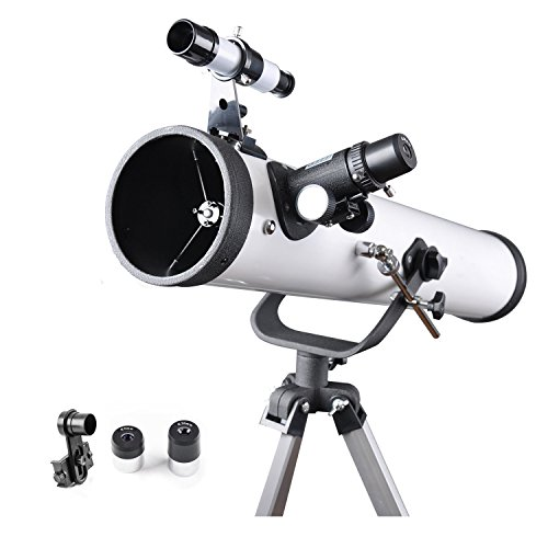 Quicktec Refractor Telescope 76AZ Scope - 76mm Aperture and 700mm Focal Length, Travel Telescope, Multi-layer Green Film, with Smartphone Adapter for Photography by (76700) by Quicktec