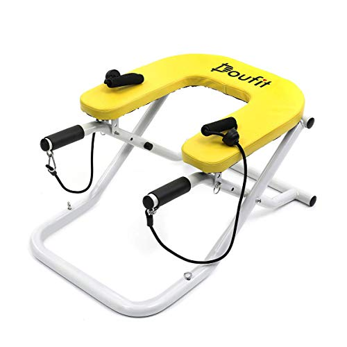 Doufit Yoga Headstand Inversion Bench, IT-02 Inversion Stool for Head Stand Exercise, Headstand Chair for Workout at Home with Resistance Bands