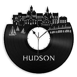 VinylShopUS - Hudson Vinyl Wall Clock City Skyline Best Gift for Office and Bedroom | Home Decoration