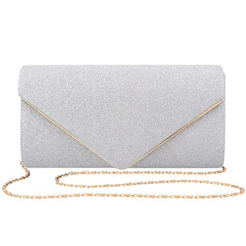 FIVE FLOWER Women Clutches Evening Bags Handbags Wedding Clutch Purse (Silver) ()