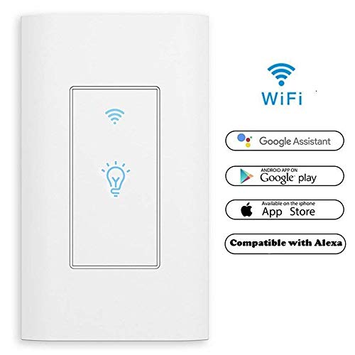 WiFi Switch Smart Switch in-Wall,White 110V-125V 1 Way 15A On/Off,Smart Phone Wireless Control,No Hub Required,Timing Function,Neutral Line Required , Work with Alexa and Google Assistant 1 PCS