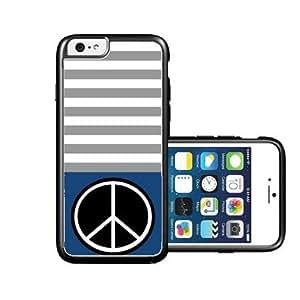 RCGrafix Brand Peace Dark Blue & Grey Stripes Black iPhone 6 Case - Fits NEW Apple iPhone 6