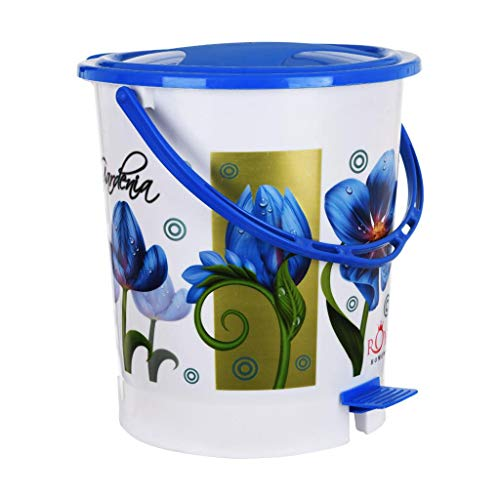 Fuscia™ Flower Design Plastic Dustbin 12L (Blue) Price & Reviews
