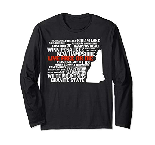 New Hampshire Map with Best Places Long Sleeve T-Shirt