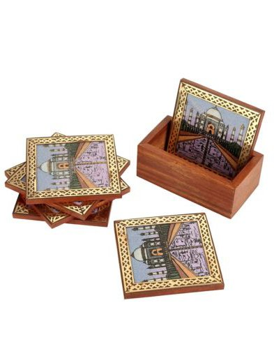 Rangsthali Tajmahal Designer Gemstone Wooden Tea Coster Set Of 6 Pcs by Rangsthali (Image #1)