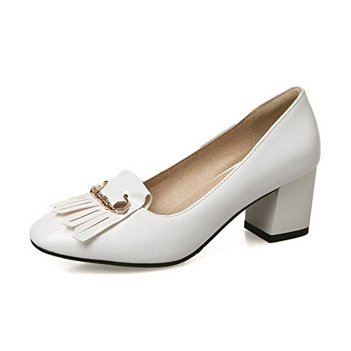 Balamasa Donna Charms Nappe Chunky Tacchi Pompe In Vernice Scarpe Bianche