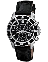 Wenger Womens 70745 Sport Elegance Chrono Black Dial Leather Watch