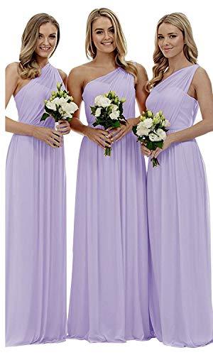 liangjinsmkj Women's One Shoulder Bridesmaid Dresses Long Asymmetric Chiffon Wedding Party Gowns Lavendar US20W ()