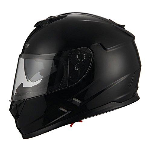 Triangle Motorcycle Street Bike Dual Visor Helmets DOT Approved (Large, Glossy Black)