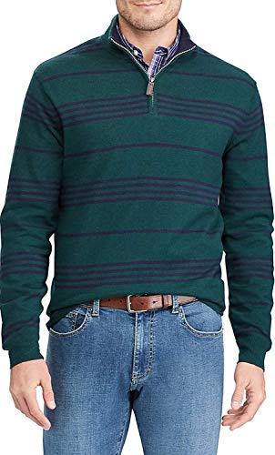 Chaps Men's Classic-Fit Classic Striped Quarter-Zip Sweater (Green, M)