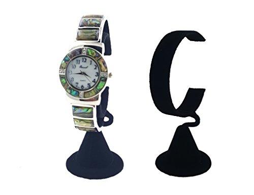 (N'ice Packaging 2-Pack Black Velvet Wrist Watch Bracelet Jewelry Showcase Display Stretchie Bangle Bracelet Display Stand (Black Velvet))