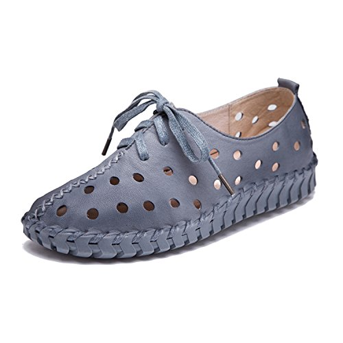 Leather Women Wome Spring Kenavinca Genuine Shoes Shoes 9 Shoes New Genuine Flats Casual Hollow Female Gray and Summer Women Lace Leather 64qX6