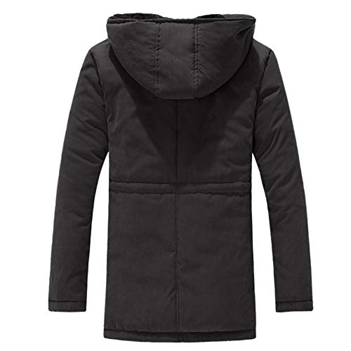 Noir Épais Capuche Loisir Longueur Kobay Hommes Hiver Velours Couleur Coton Manteau Moyenne À z7zBaAwqx