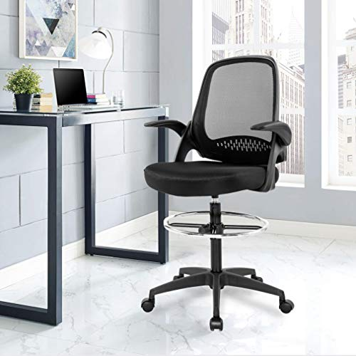 Ergonomic Mid-Back Mesh Drafting Chair with Lumbar Support Flip-Up Arms Desk Computer Adjustable Swivel Rolling Home Tall Office Chair for Women,Men by BestOffice (Image #5)