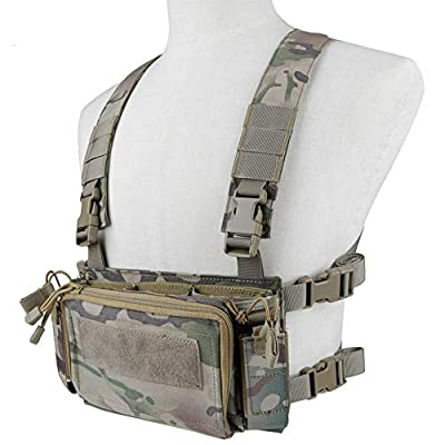 Tactical Chest Rig Airsoft Vest Multicam Camo with 5.56 Triple M4 Mag Pouch 9mm Pistol Magazine Pouches and Storage Bag Modular Harness for Shooting Wargame Paintball Military Hunting