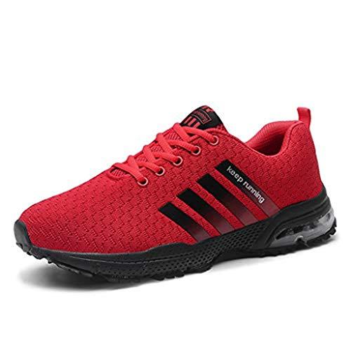 Sharemen Mens Women's Mesh Beathing Basketball Running Sport Athletic Shoes Sneakers(Red,US: 8)