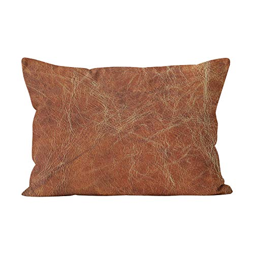 Leather Art Sofa Deco (Gygarden Unique Brown Tanned Leather Hidden Zipper Home Decorative Rectangle Throw Pillow Cover Cushion Case King 20x36 Inch One Side Design Printed Pillowcase)