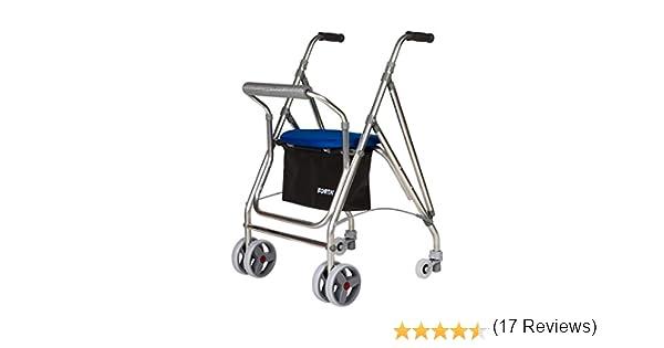 Andador de Aluminio Ruedas Kanguro freno presión A-Unidad: Amazon ...