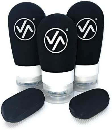 Travel Bottles- Refillable TSA Approved 3 oz Containers - Leakproof Silicone Travel Tubes + Airline Approved Toiletry Bag + Toothbrush Covers - 3-1-1 Set For Men or Women