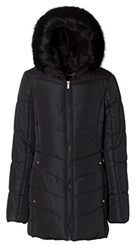 Sportoli Junior Women's Winter Plush Lined Midlength Puffer Coat with Fur Trimmed Hood - Jet Black (Fur Plus Size Coat)