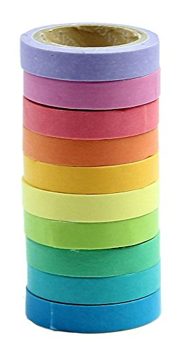MassMall® Decorative DIY Tape Washi Rainbow Candy Color Sticky Paper Masking Adhesive Tape Scrapbooking &Phone DIY Decoration 10xRoll
