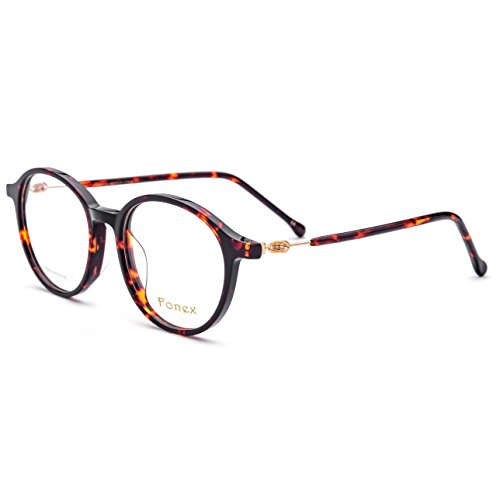 FONEX Prescription Eyeglasses Spectacles Myopia Optical Eyewear Frames Tb5202 (leopard, 48)