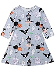 YOUNGER TREE Toddler Baby Girls Clothes Halloween Dress Cartoon Pumpkin Ghost Spider Print Outfits