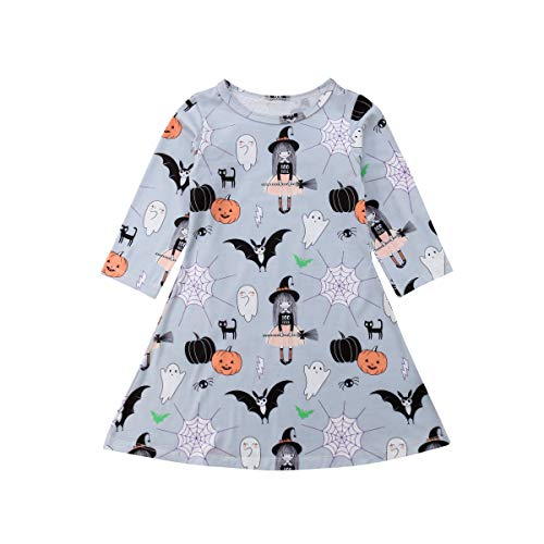 Outfit Ideas For Halloween (Toddler Baby Girls Clothes Halloween Dress Cartoon Pumpkin Ghost Spider Print Outfits (2-3 Years, Blue Floral Dress)