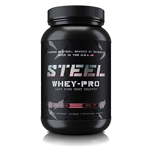 Cheap Steel Supplements Whey-PRO Whey Protein Powder Supplement Supports Lean Muscle Gains 3 Pounds (Strawberry Cheesecake)