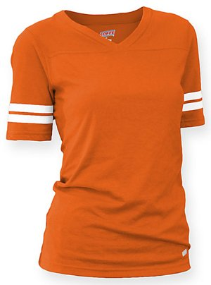 Soffe Women's Juniors Football Tee, Orange, (Cotton V-neck Football Tee)
