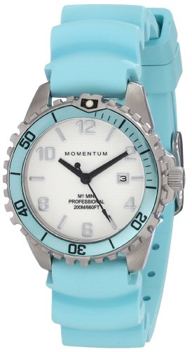 (Women's Quartz Watch | M1 Mini by Momentum | Stainless Steel Watches for Women | Dive Watch with Japanese Movement & Analog Display | Water Resistant ladies watch with Date - White / Aqua Rubber)