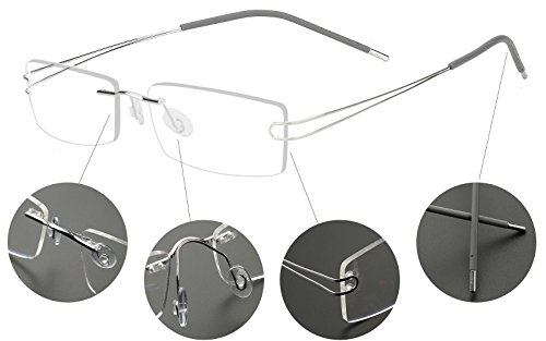 Agstum Pure Titanium Rimless Frame Prescription Hingeless Eyeglasses 52mm (Silver, - Frames Rimless Titanium