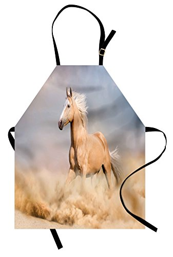 Apron Horse (Ambesonne Horses Apron, Palomino Horse in Sand Desert with Long Blond Male Hair Power Wild Animal, Unisex Kitchen Bib Apron with Adjustable Neck for Cooking Baking Gardening, Purple Grey Peach)