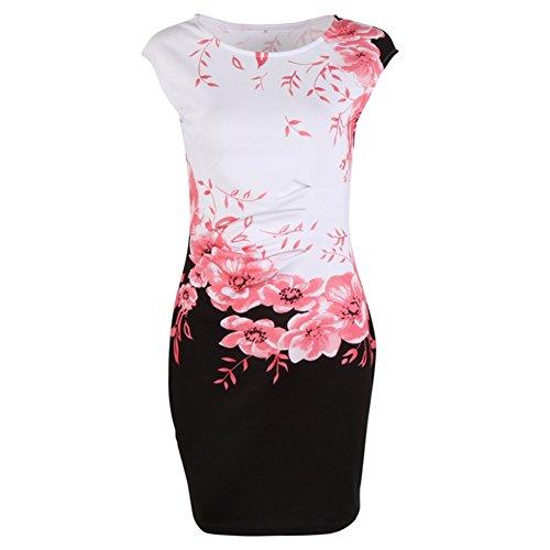 Casual Floral Pullover Slim Mini Noche Mujer Pelota Fiesta Vestido Vestido Mangas Redondo Kootk Maxi Verano Elegante Vestido Rojo Sin Vestidos wq88x1C7