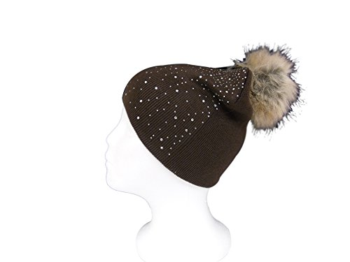 Womens Warm and Stylish Double Layer Faux Fur PomPom Beanie Hat with Rhinestone Sprakle - Brown (Burgundy Felt Bonnet)
