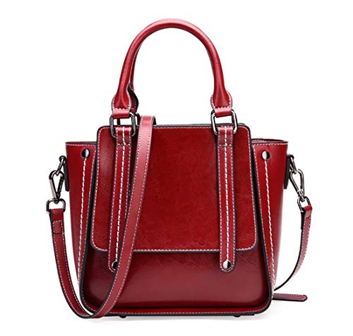 Leather Crossbody Bag for Women Medium Small Tote Satchel with Strap Cowhide Leather (Red)