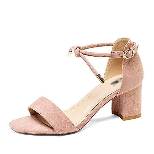 Student Word with Sandals Summer Simple Heel Mid Woman ZCJB Wild Band Pink Thick cUzqWzXrZ