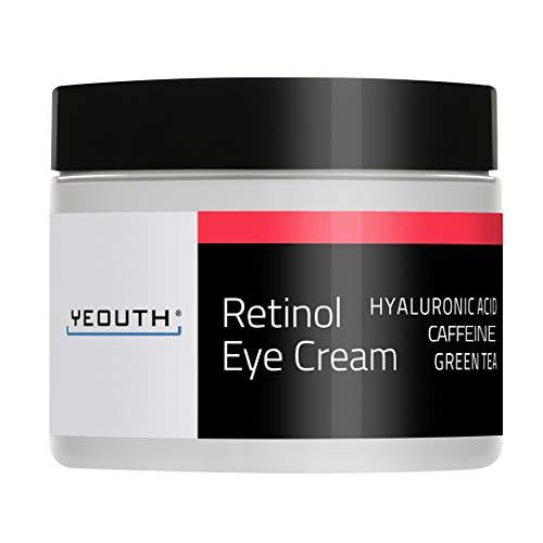 Retinol Augencreme 2,5% von YEOUTH verstärkt mit Retinol, Hyaluronsäure, Koffein, Grüner Tee, Anti-Falten, Anti-Aging, straffe Haut, gleichmäßiger Hautton, feuchtigkeitsspendend und hydratisierend