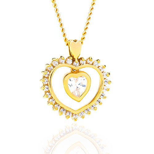 Lifetime Jewelry Heart Necklace, Cubic Zirconia Dangle Pendant, Comes on an 18 Inch Chain Made of 24K Gold Over Semi-Precious Metals in a Box or Pouch for Gift Giving