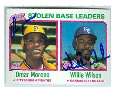 - Autograph 211704 Pittsburgh Pirates Kansas City Royals 1980 Topps No. 204 Stolen Base Leaders Willie Wilson & Omar Moreno Autographed Baseball Card