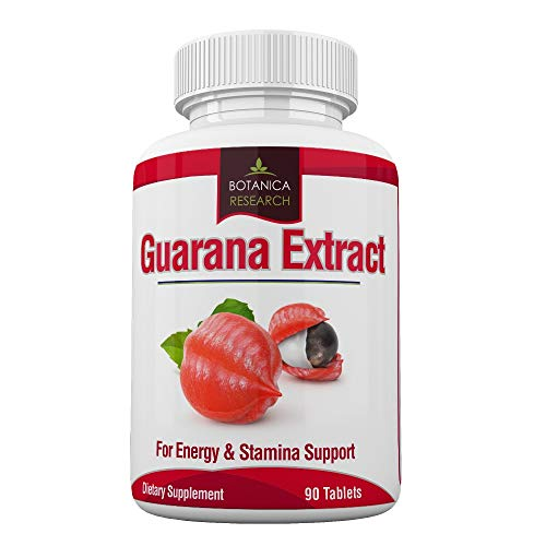 Guarana Extract: All Natural Herbal Energy Supplement for Women, Men: 200mg Caffeine – 90 Tablet Capsule Pills Tannins, Guaranine Paullinia Cupana Plant Powder Seeds Diet Weight Loss Without Anxiety